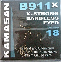 Kamasan B911 x-strong Barbless eyed