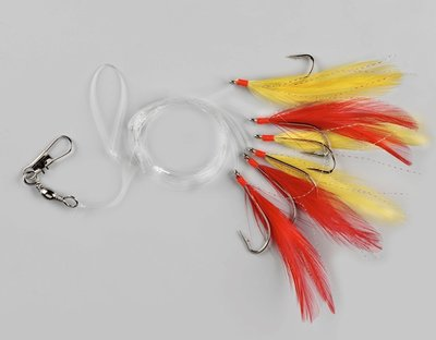 6 Haaks Makrelen paternoster geel-rood
